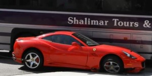Video: Ferrari California Vs. Tour Bus